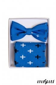 Kék zokni mintával, szettben férfi csokornyakkendővel