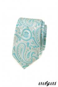 Keskeny nyakkendő menta paisley mintával