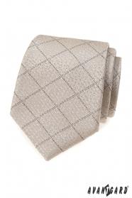 Bézs színű nyakkendő rácsmintával