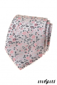 Luxus szürke nyakkendő rózsaszín mintával