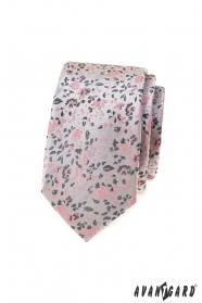 Luxus szürke keskeny nyakkendő rózsaszín mintával