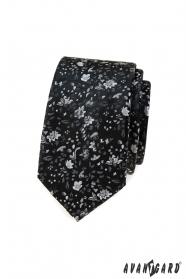 Fekete keskeny nyakkendő virágmintával