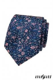 Elegáns kék nyakkendő virágmintával