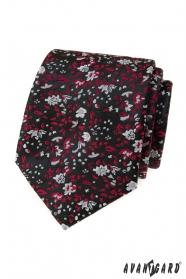 Fekete nyakkendő piros-szürke mintával