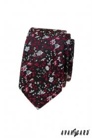 Fekete keskeny nyakkendő piros-szürke mintával