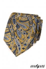 Kék-sárga nyakkendő paisley mintával