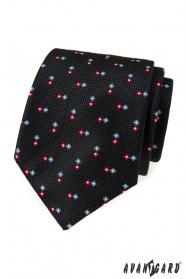 Fekete textúrájú nyakkendő mintával
