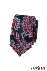 Kék slim nyakkendő piros paisley mintával