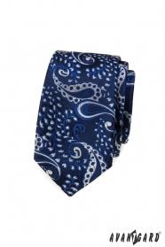 Kék keskeny Paisley nyakkendő