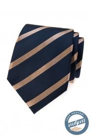 Kék selyem nyakkendő fényes csíkkal egy díszdobozban