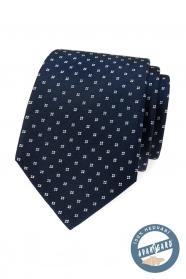 Kék selyem nyakkendő fehér mintával díszdobozban
