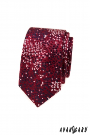 Bordó keskeny nyakkendő virágmintával