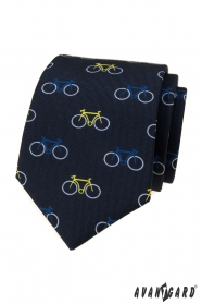Kék nyakkendő színes kerékpár mintával