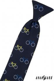 Kék gyerek nyakkendő 31 cm, színes kerékpár